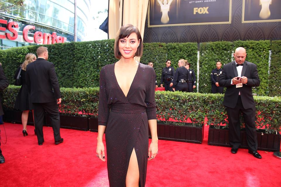 Aubrey Plaza on the 2015 #Emmys red carpet. Parks and Recreation