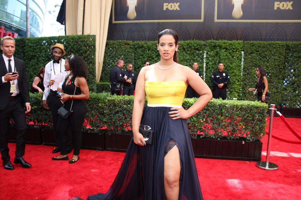 Dascha Polanco looks stunning on the #Emmys carpet. Orange is the New Black