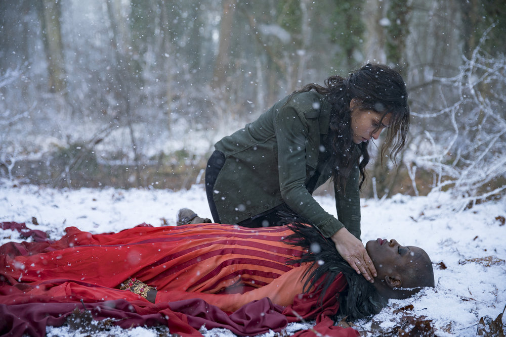 "EMERALD CITY -- ""The Beast Forever"" Episode 101-- Pictured: (l-r) Adria Arjona as Dorothy, Florence Kasumba as Wicked Witch Of The East -- (Photo by: David Lukacs/NBC)"