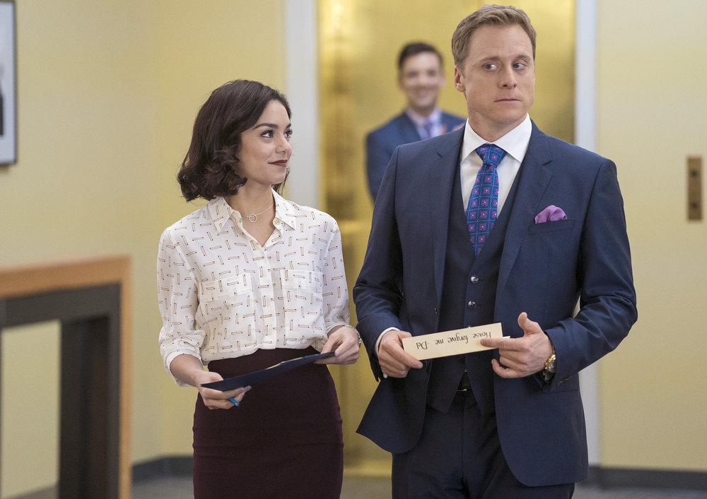 POWERLESS -- Pilot -- Pictured: (l-r) Vanessa Hudgens as Emily, Alan Tudyk as Del -- (Photo by: Chris Large/NBC)