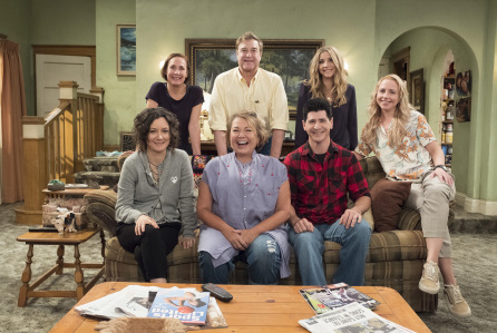 "ROSEANNE - ""Roseanne,"" the timeless sitcom that broke new ground and dominated ratings in its original run, will return to ABC with all-new episodes, in a special hour-long premiere, TUESDAY, MARCH 27 (8:00-9:00 p.m. EDT). ""Roseanne"" will air in its regular time slot, 8:00-8:30 p.m., beginning TUESDAY, APRIL 3. (ABC/Adam Rose) SARA GILBERT, LAURIE METCAF, ROSEANNE BARR, JOHN GOODMAN, MICHAEL FISHMAN, SARAH CHALKE, ALICIA GORANSON"
