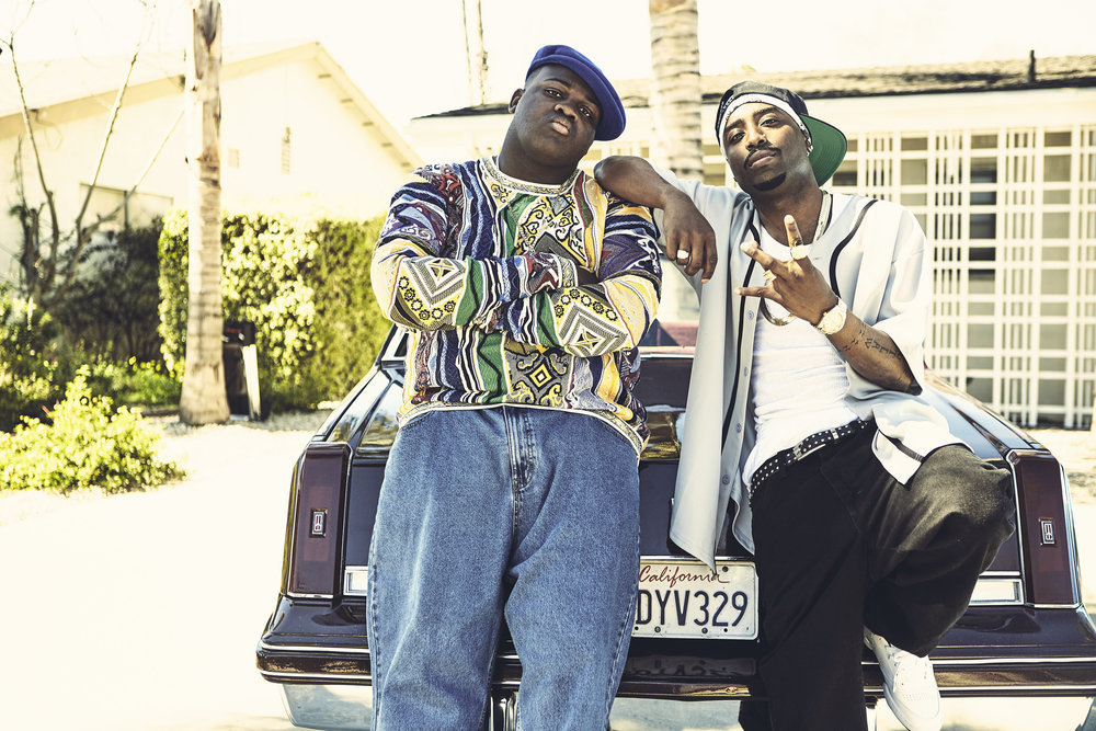 "UNSOLVED -- ""Pilot"" -- Pictured: (l-r) Wavyy Jonez as Christopher ""Biggie"" Wallace, Marcc Rose as Tupac Shakur -- (Photo by: James Minchin III/USA Network)"