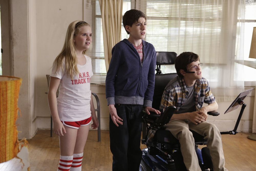"SPEECHLESS - ""Pilot"" - Maya DiMeo moves her family to a new, upscale school district when she finds the perfect situation for her eldest son, JJ, who has cerebral palsy. While JJ and daughter Dylan are thrilled with the move, middle son Ray is frustrated by the family's tendencies to constantly move, since he feels his needs are second to JJ Soon, Maya realizes it is not the right situation for JJ and attempts to uproot the family again. But JJ connects with Kenneth, the school's groundskeeper, and asks him to step in as a his caregiver, and Ray manages to convince Maya to give the school another chance, on the series premiere ""Speechless"" WEDNESDAY, SEPTEMBER 21 (8:30-9:00 p.m. EDT), on the ABC Television Network. (ABC/Nicole Wilder) KYLA KENEDY, MASON COOK, MICAH FOWLER"