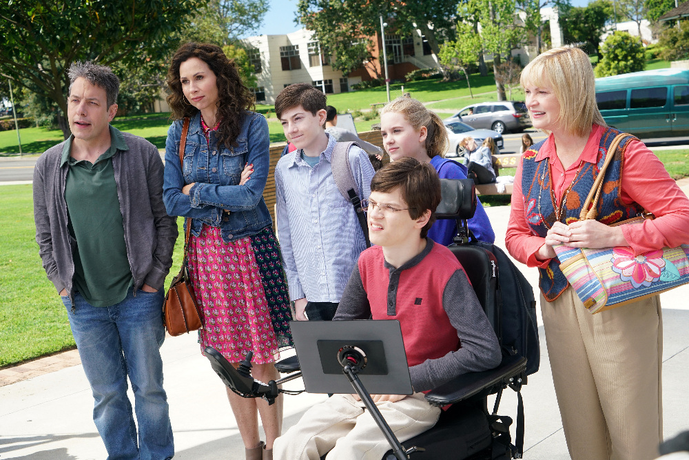 "SPEECHLESS- ""Pilot"" - Maya DiMeo moves her family to a new, upscale school district when she finds the perfect situation for her eldest son, JJ, who has cerebral palsy. While JJ and daughter Dylan are thrilled with the move, middle son Ray is frustrated by the family's tendencies to constantly move, since he feels his needs are second to JJ Soon, Maya realizes it is not the right situation for JJ and attempts to uproot the family again. But JJ connects with Kenneth, the school's groundskeeper, and asks him to step in as a his caregiver, and Ray manages to convince Maya to give the school another chance, on the series premiere ""Speechless"" WEDNESDAY, SEPTEMBER 21 (8:30-9:00 p.m. EDT), on the ABC Television Network. (ABC/Adam Taylor) JOHN ROSS BOWIE, MINNIE DRIVER, MASON COOK, KYLA KENEDY, MICAH FOWLER, DINA SPYBEY-WATERS"