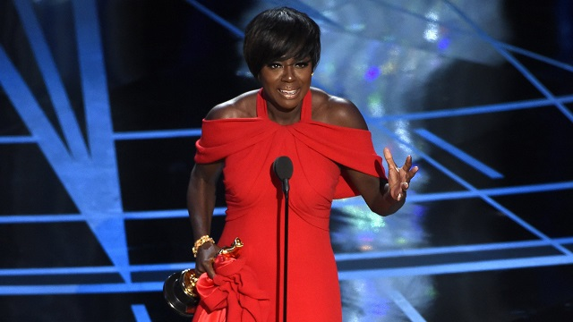 "Viola Davis accepts the award for best actress in a supporting role for ""Fences"" at the Oscars on Sunday, Feb. 26, 2017, at the Dolby Theatre in Los Angeles. (Photo by Chris Pizzello/Invision/AP)"