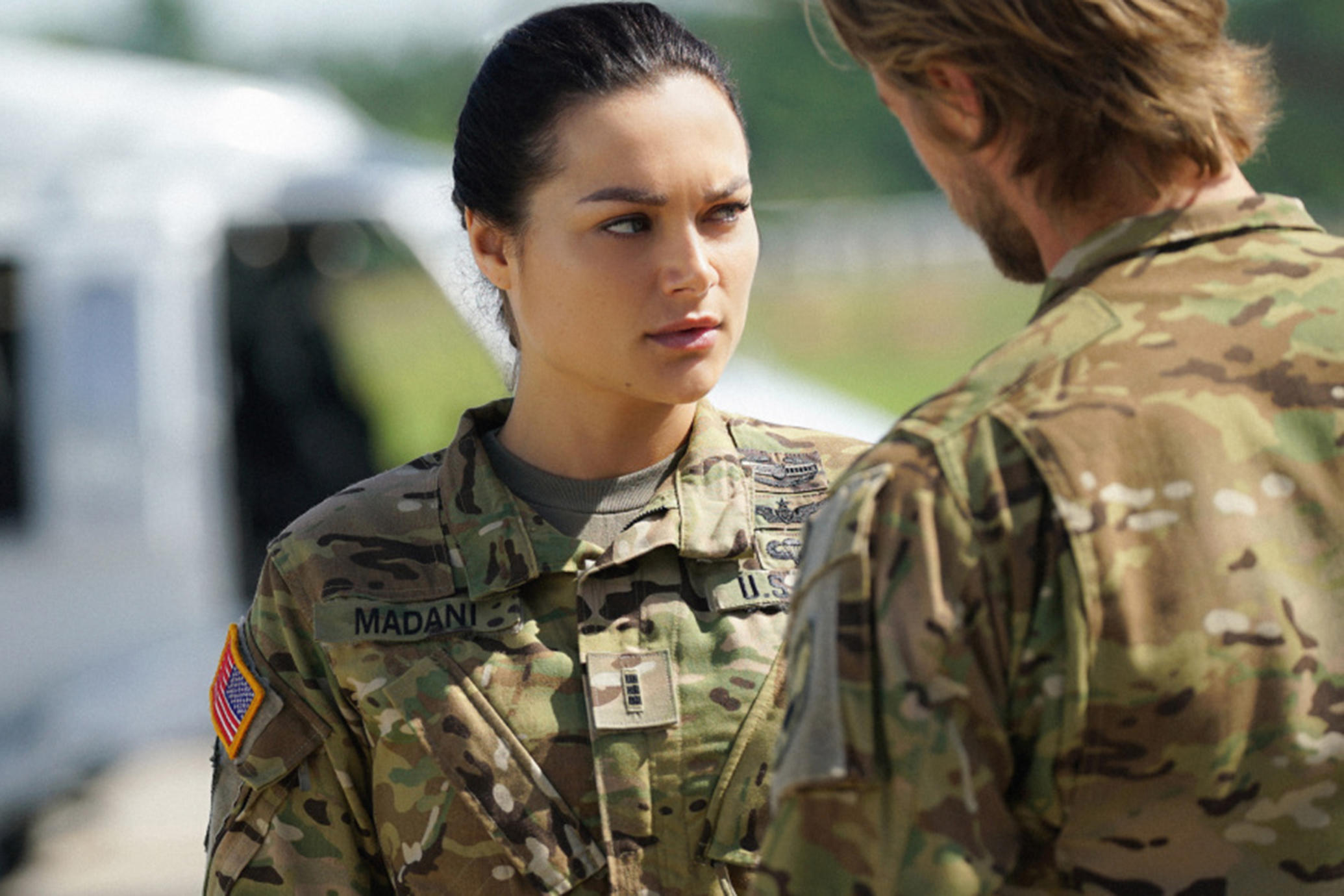 "Valor -- ""Esprit de Corps"" -- Image Number: VAL102a_0227.jpg -- Pictured (L-R): Christina Ochoa as Nora and Matt Barr as Gallo -- Photo: Quantrell Colbert/The CW -- © 2017 The CW Network, LLC. All Rights Reserved."